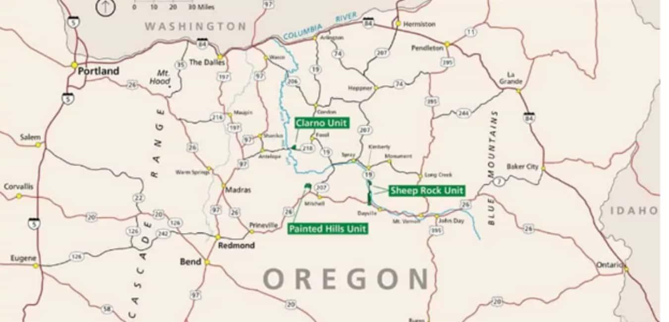 Painted hills unit map