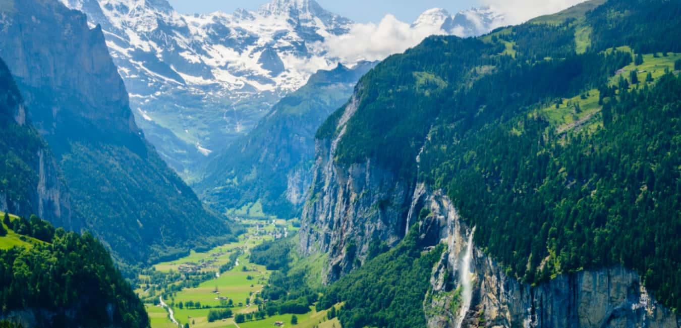 Valley of 72 Waterfall In Switzerland